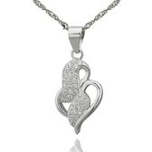 項鍊 925純銀鑲鑽吊墜-心心相印生日母親節禮物女飾品73dk292【時尚巴黎】