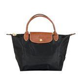 Longchamp Le Pliage 經典尼龍小型摺疊短柄水餃包(黑色)