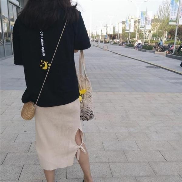 [超豐國際]春夏印花小清新圓領套頭寬松百搭學生短袖T恤上衣女1入