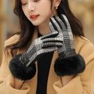 防風手套 格子手套女士春秋冬季防寒加厚保暖防風時尚美觀大方毛絨日系簡約