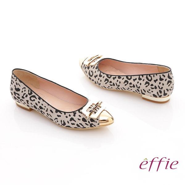 effie 軟芯系列 絨面真皮豹紋尖楦平底鞋 淺灰