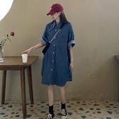 襯衫洋裝 夏季新款法式復古牛仔襯衫裙中長款寬鬆顯瘦學生氣質連衣裙女 - 風尚3C