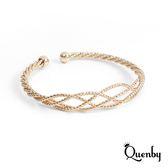 Quenby 極簡編織花漾手環/配件-金色