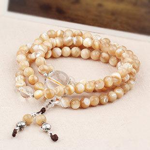 金色珍珠母貝項鏈  108顆佛珠手鏈
