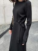 洋裝 歐貨秋冬連身裙收腰顯瘦氣質韓版小黑裙chic打底針織裙女 芊墨左岸