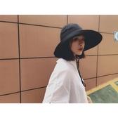 日繫天可折疊布帽遮陽帽女棉麻大簷漁夫帽太陽帽遮陽 蜜拉貝爾