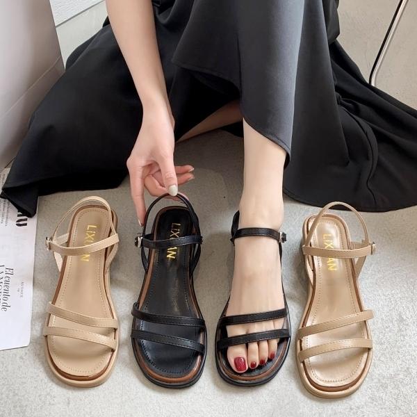 方頭鞋.韓系氣質雙繫帶一字繞踝低跟涼鞋.白鳥麗子
