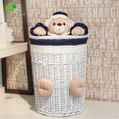 萬聖節快速出貨-髒衣籃髒衣服藤編有蓋洗衣籃簍衛生間浴室衣物玩具整理創意收納筐ZMD