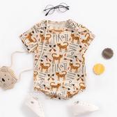 動物印花短袖三角包屁衣 卡其箭頭貓 兔裝 哈衣 寶寶服 連身衣