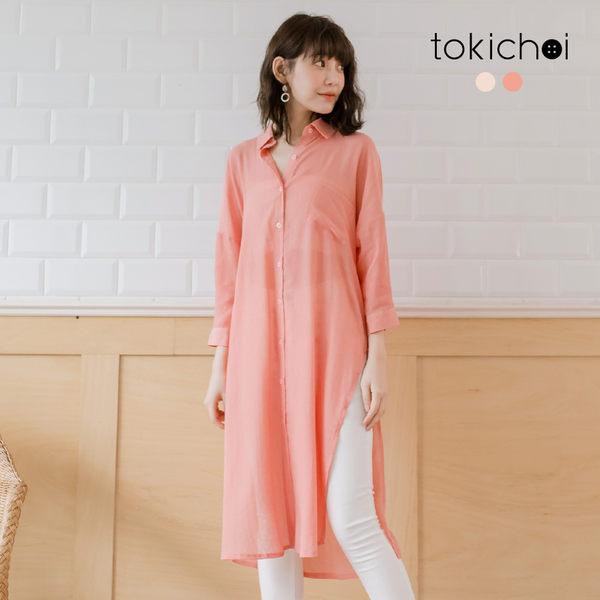 東京著衣-tokichoi-無印簡約經典襯衫領側開叉外套-S.M.L(190487)