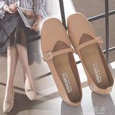 2018新款方頭粗跟中跟復古奶奶鞋一字扣單鞋韓版女鞋工作鞋高跟鞋『小淇嚴選』
