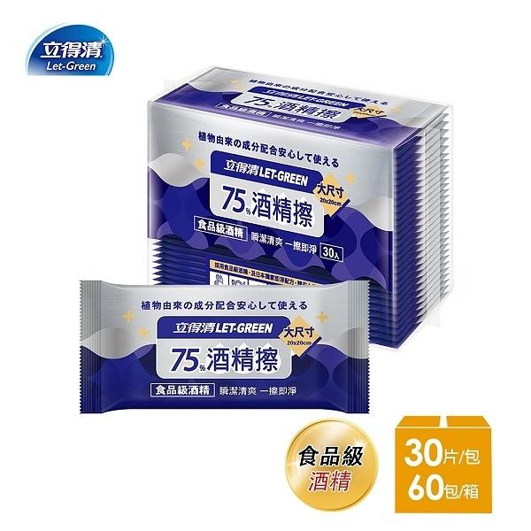 【立得清】75%酒精擦濕紙巾 清潔抗菌 擦拭無水痕-單片裝(30片x60包)-箱購