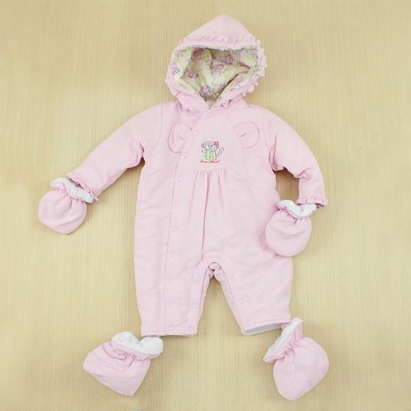 【愛的世界】防風小猴子鋪棉連帽衣連褲禮盒/6個月~1歲-台灣製----禮盒推薦