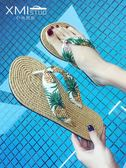 網紅涼拖人字拖鞋女夏外穿平底可愛度假沙灘鞋女拖鞋海邊防滑夾腳CY 韓風物語