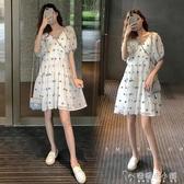 網紅孕婦裝潮媽夏款時尚孕晚期夏天裙子夏季小清新連衣裙夏裝「安妮塔小鋪」
