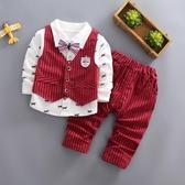 1周歲寶寶生日禮服套裝男童小西裝4春裝2兒童英倫風馬甲三件套3潮(快速出貨)