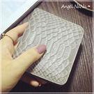 真皮短夾-歐美風頭層牛皮超薄鱷魚紋蛇紋女皮夾 Angelnana (SMA0225)