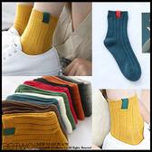 彼兔 betwo.短襪 PLD*復古純色基礎款拼接小標造型棉質中筒短襪【584-AE59】06020663