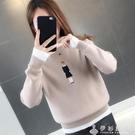 2020秋冬新款假兩件刺繡上衣女毛衣韓版寬鬆套頭針織打底衫女學生 伊衫風尚