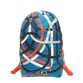HERMES 愛馬仕 藍X橘色絲質圖案後背包 Airsilk Backpack【BRAND OFF】