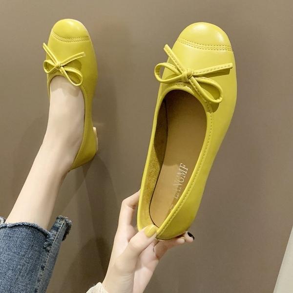 豆豆鞋 2020春夏季新款百搭韓版淺口單鞋女網紅款蝴蝶結奶奶鞋平底豆豆鞋 薇薇