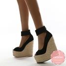 楔型鞋 魚口神秘黑絨質草編底 厚底鞋*KWOOMI-A814