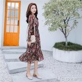 春季新款韓版ins復古V領氣質褶皺碎花雪紡連身裙夏 ciyo黛雅