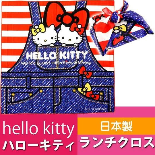 〔小禮堂〕Hello Kitty日製便當包巾《L.紅藍.Kitty&Mimmy.姊妹.吊帶褲口袋.52x52cm》純綿100% 4973307-40025