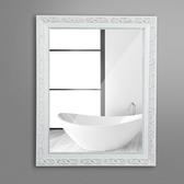 化妝鏡 實木粘貼浴室鏡子化妝鏡洗手間廁所衛生間帶框貼墻壁店鋪免打孔
