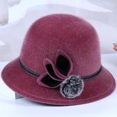 媽媽帽 老人帽子女奶奶秋冬季盆帽中年媽媽婆婆毛呢禮帽老年人加厚時裝帽【限時82折】