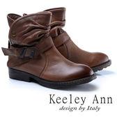 ★2017秋冬★Keeley Ann個性玩酷~腳踝繫帶鞋頭擦色真皮短靴(駱駝色)