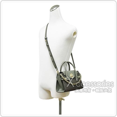 MICHAEL KORS CARMEN金字LOGO PVC扣式手提斜背包(展示品/迷你/軍綠)