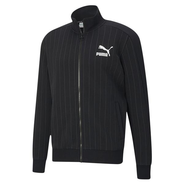 PUMA PINSTRIPE TRACK 男裝 外套 棉質 休閒 口袋 條紋 黑 歐規【運動世界】53017701