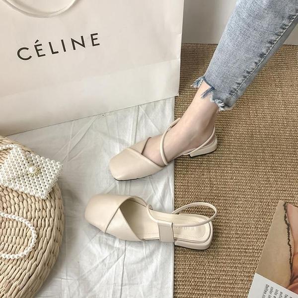 涼鞋 粗跟新款夏季中跟粗跟溫柔夏天半包頭涼鞋仙女風ins潮單鞋