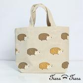 【Tiara Tiara】HARRY刺蝟排排站手提袋 帆布袋(卡其)