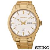 SEIKO精工  自信沉穩金色調太陽能石英腕錶 SNE366P1
