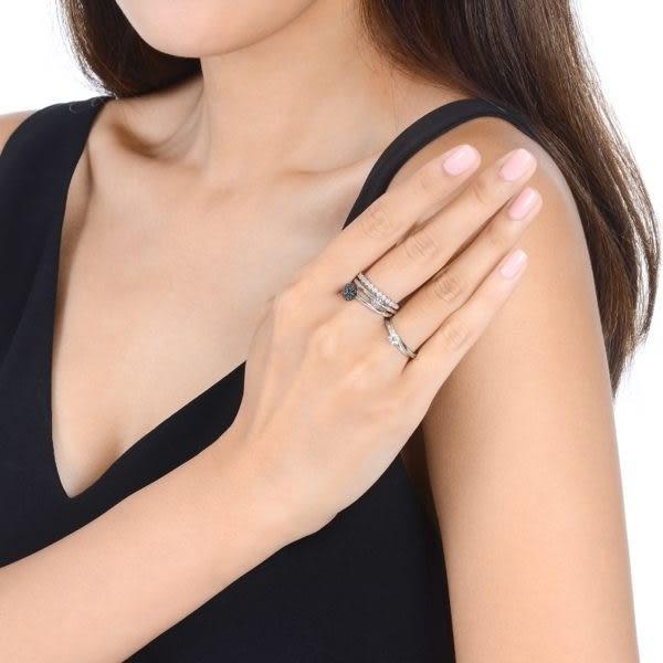點睛品 Fingers Play 時尚百搭18K金馬卡龍黑鑽石戒指