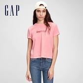 Gap女裝 Logo紮染休閒短袖T恤 703390-粉色