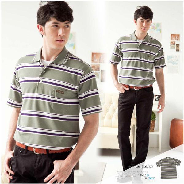 【大盤大】(P20671) 男 短袖POLO衫 橫條紋棉衫 高爾夫 有領休閒衫 運動衫 口袋 反領【僅剩M號】