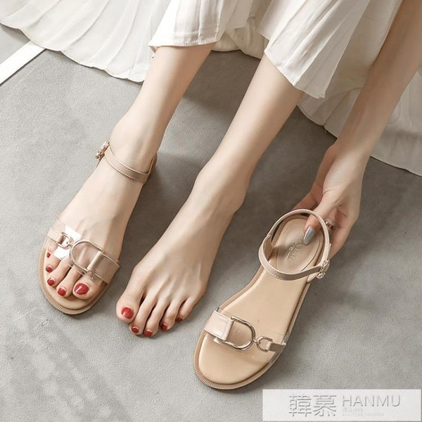 涼鞋女夏低跟2021年新款夏季氣質溫柔平底配裙子露趾一字帶仙女風 夏季新品