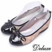 【Deluxe】全真皮俏皮可愛蝴蝶結菱格紋娃娃鞋(米☆粉)