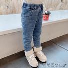 兒童牛仔褲 女童牛仔褲加絨2021新款女寶寶冬裝褲子時髦洋氣小童加厚兒童長褲 快速出貨
