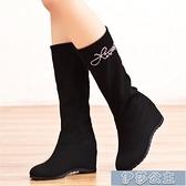 中筒靴女 春秋冬季加絨女靴中筒靴磨砂平底內增高女鞋防滑短靴大碼學生鞋子