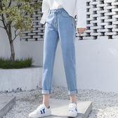 春夏正韓新款高腰chic牛仔褲女九分寬鬆顯瘦百搭直筒褲子女