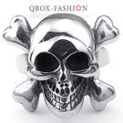《 QBOX 》FASHION 飾品【R10024823】精緻龐克風骷顱頭造型鑄造鈦鋼戒指/戒環