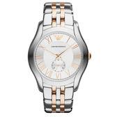 EMPORIO ARMANI 典藏雋永小秒針時刻腕錶-玫瑰金x銀