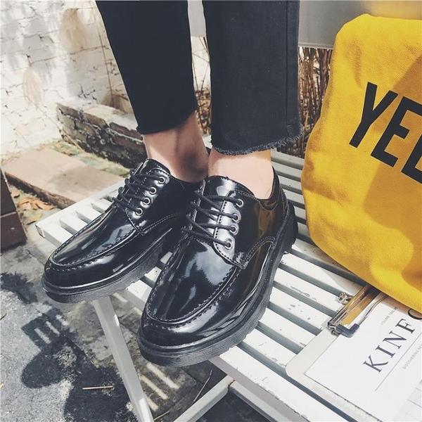 加大號45韓版復古男鞋46厚底百搭皮鞋47休閒潮流48特大碼亮面潮鞋 降價兩天