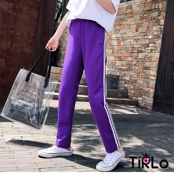 長褲 -Tirlo-三邊條小直筒休閒長褲-四色/M-2XL
