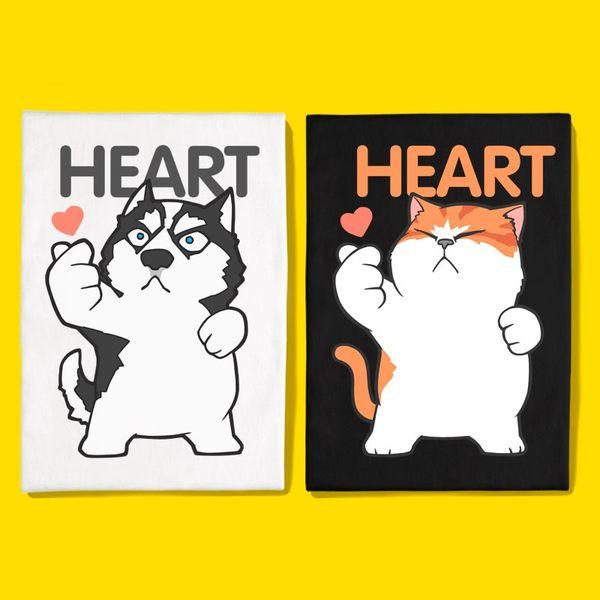 潮T 文字t  KUSO 搞笑 情侶T 情侶裝  純棉短T MIT台灣製【Y0876】短袖-合體貓狗手指HEART 快速出貨