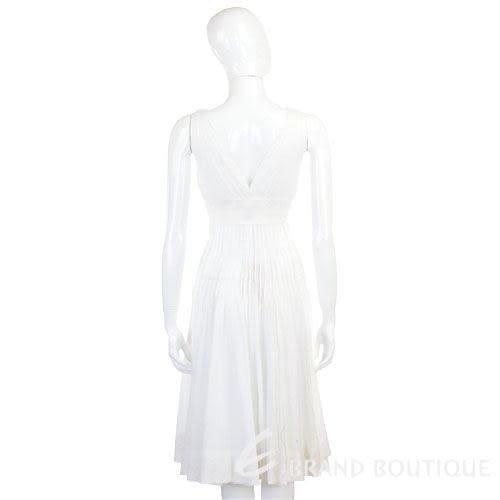 CLASS roberto cavalli 白色抓褶V領無袖洋裝 0920073-20